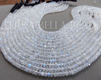 "6.5"" half strand AAA RAINBOW MOONSTONE faceted gem stone rondelle beads 5mm"