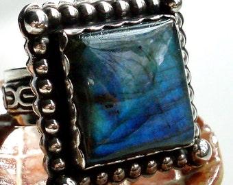 Square Labradorite Southwestern Ring, southwestern, pawn, blue flash, OOAK,silver