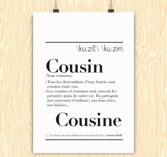 Cousin/Cousin Definition Poster
