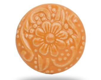 Ceramic Revival Orange Flower Knob, Round Vintage Interior Door Knob, Floral Print Cupboard Door Handle, Dresser Drawer Pull & Cabinet Knob
