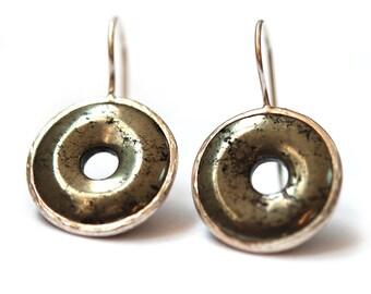 Pyrite Loop Earrings, round earrings, circle earrings, metallic color, fools gold earrings, Pyrite earrings, natural stone earrings