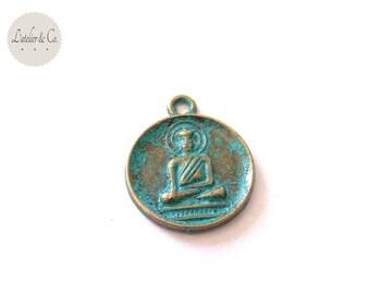5 medallions 21x15mm antique bronze green Buddha * md3 11 *.