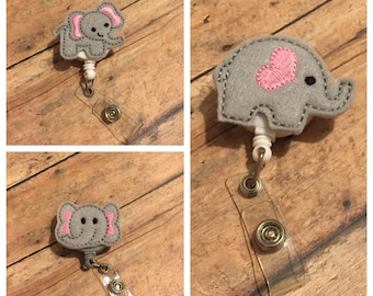 Elephant Badge Reel - Id holder - Retractable Badge Holder - Name Badge Holder - Nurse Name Badge Holder - Elephant - Elephant Badge clip
