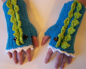 Hand Crocheted Dragon Arm Warmers/Fingerless Gloves