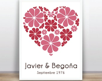 Guest Book Heart - Baby Shower - Birthday  Custom color, size and text available
