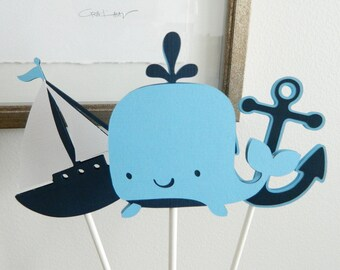 3 Nautical Whale Centerpiece Sticks Whale Table Decor Whale Baby Shower Baby Boy Baby Shower Whale Decorations • Set of 3