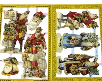 Vintage Santa Paper Scraps Victorian Embossed Santa Claus Cutouts Mamelok Press