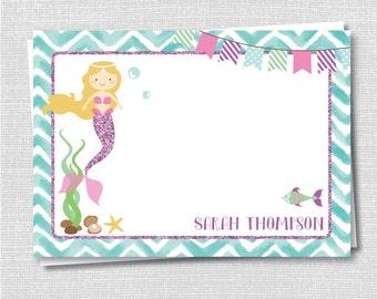 Mermaid Custom Notecard - Mermaid Birthday Party Thank You - Digital Design or Printed Notecards - FREE SHIPPING