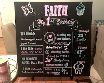 First birthday chalkboard, birthday chalkboard, custom birthday sign, first birthday sign, baby birthday sign, birthday chalkboard sign