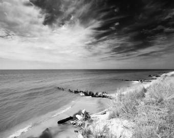 Black and White, Lake Michigan, Beach, dune, sky, water,  Wall Art, Landscapre Photo, Nature Photo, lakeshore