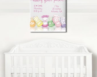 Baby Girl Canvas, Birth Announcement, Newborn Gift, Birth Stats, Girl Nursery Decor, Nursery Artwork, Newborn Gift, Nursery Decor