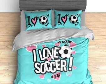 Custom Soccer Duvet, Soccer Comforter, Soccer Bedding, Teal, Pink Hearts,  Personalized