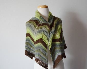 Cozy Forest Shawl - Hand Knit Chevron Motif Shawl in Greens & Brown Spring Green, Rainforest Green, Fall Fashion, Women's Fashion, Knit Wrap