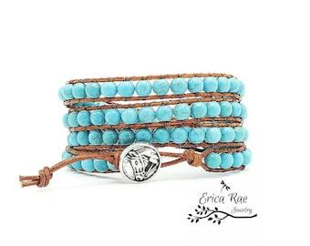 turquoise leather wrap bracelet, leather bracelet, turquoise bracelet, beaded leather wrap bracelet, country girl, gemstone bracelet, horse