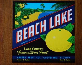 Vintage Crate Art - BEACH LAKE - Citrus Fruit Shipping label - 1940's