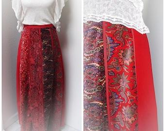 Vintage 70s Bohemian Maxi Skirt + Velvet Hippie Skirt + Long Panel Skirt + Ethnic Skirt + Festival Skirt