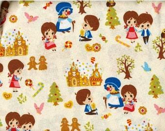 48cm Japanese Cotton Fabric Nursery Tales Hansel Gretel Sweet House White