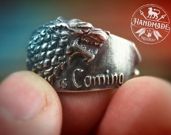 Game of Thrones Direwolf Ring of House Stark - 925 Sterling Silver - US Size 8/9/10/11/12