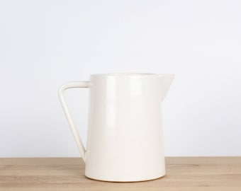 Small White Pitcher  |  Ceramic vase  |  Carafe wedding gift  |  Gift for mom  |  Hostess gift  |  Kitchen decor  |  Housewarming gift