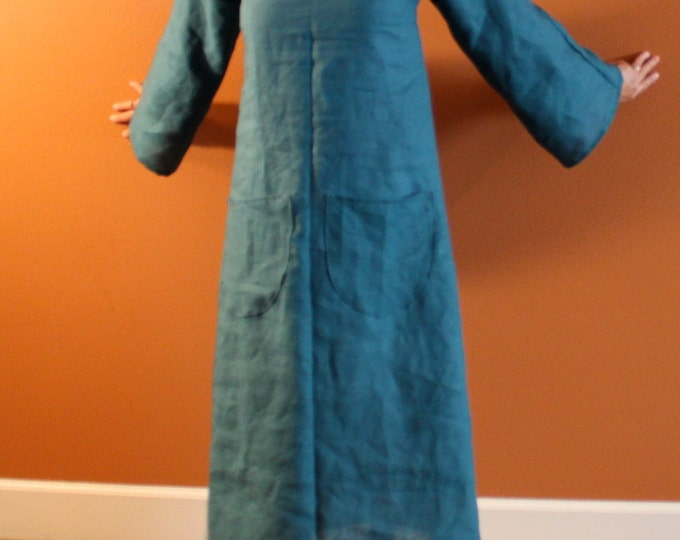 custom bell sleeve A line linen dress / boat neck linen dress / casual linen dress / empire dress / dress with pockets / plus size / petite