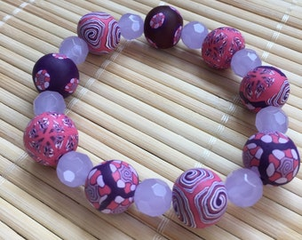 Purple and Pink Stackable Bracelet - Chunky Beaded Jewelry Mother's Day Gift for Mom Teacher Wife Girlfriend Anniversary