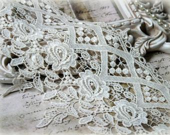 Ivory Lace Trim, Bridal Lace, Wedding Lace, Clothing Design, Couture Design, Custom Design, Crafting Lace Trim GP-109
