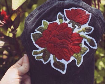 Handmade Embroidery Rose Flower Patch