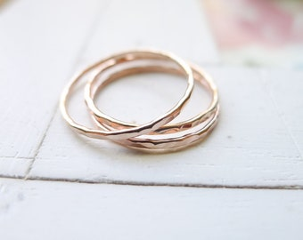 Rose Gold Stacking Rings Set of 3 Hammered Thin Gold Filled Wispy 1mm Textured Stacking Rings Minimalist Boho Luxe Gifts