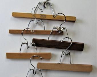 6 Vintage wooden Pants or skirt Hangers, Mid Century, Closet organization, Setwell, Home Decor, gift idea