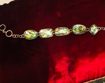 Abalone shell, mother of pearl sterling silver bracelet made by myself alone
