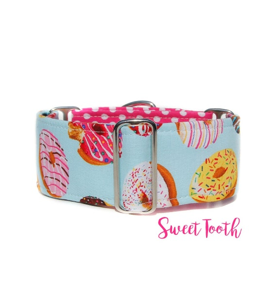 2 Inch Two Toned/Half Print Donuts and Polka Dot Martingale Dog Collar, Ready to Ship: 13-17