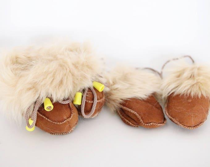 Baby Christmas Set Booties + Gloves | Baby Booties | Sheepskin Slippers Booties | Winter Booties | Newborn leather Booties