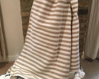 Moroccan Beige / White Stripe Pom Pom Blanket