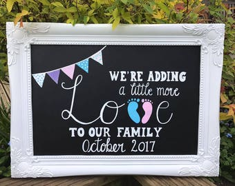 Baby Announcement chalkboard sign. Baby, engagement,party. Personalised