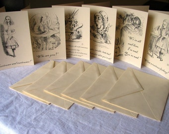 60 Blank inside cards- Thank you--Alice in Wonderland Notecards- Vintage illustrations and quotes from book- blank inside