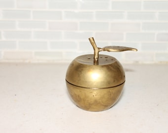 Vintage Brass Apple Container