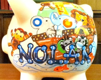 Handpainted Piggy Bank Personalized Noahs Ark  Animals Match Bedding