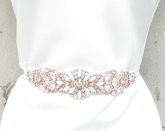 Opal & Rose Gold White Pearl Bridal Belt Sash Vintage Crystal Wedding Bead 929