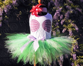 Mermaid Tutu Set, Ariel Costume, girls tutu, pixie tutu, seashell sea shell bra tank top, flower headband, Little Mermaid Birthday Party