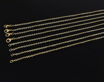 40cm 45cm 50cm Gold Plated Stainless Steel Chain ,316L Stainless Necklaces,Stainless Steel ,Width 1.8mm