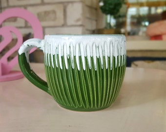 Mother gift Ceramic mug Unique coffee mug Stoneware mug Green mug Coffee gift Modern mug Ceramic mug handmade Pottery mug Clay mug 200 ml