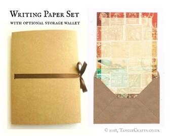 Bird Lover Writing Paper Set | A5 Letter Writing Gift Set - A5 Paper & Envelopes in Storage Folder | Boho Stamp Art Gift for Letter Writer