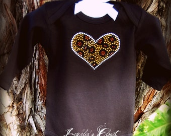 Rhinestone Cheetah/Leopard Print Bling Heart Long Sleeve Onesie- Boutique Quality- Great for Valentines Day- Comes in Black, White or Pink