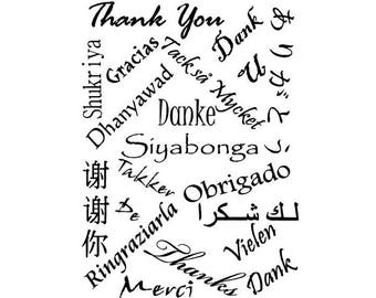 Thank you in many foreign languages unmounted rubber stamp, thanks, large background stamp, Crazy Mountain Stamps #5