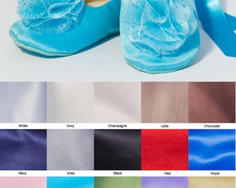 Pool Blue Satin Flower Girl Shoe, Robin Egg Blue Toddler Ballet Slipper, Baby Ballet Flat, Summer Wedding Shoe, Girls shoes,Baby Souls Shoes