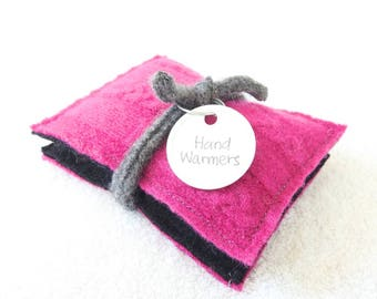 Hand Warmers HOT PINK & BLACK Reusable Handwarmers Felted Sweater Wool Rice Bags Stocking Stuffer Teacher Coworker Gift by WormeWoole