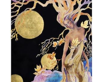 Goddess painting, watercolor painting,  5 x 7 Giclee Print, Tree spirit, celtic art