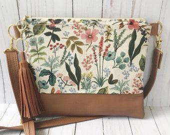Cotton + Steel, Rifle paper co bag, floral crossbody bag, Rifle paper