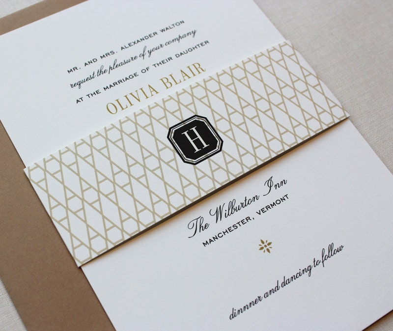 Classic Wedding Invitations Black and Gold Custom Wedding