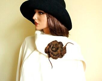 Brown brooch Brooch of felt in shades of brown  Felted brooch, fancy flower, felt brooch